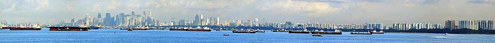 A view of the cityscape and anchored ships from Singapore's Eastern Anchorage off the East Coast Park