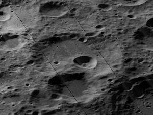 Paraskevopoulos (crater) - Oblique Lunar Orbiter 5 image