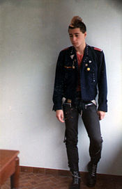 A French punk in 1981, wearing a customized blazer, as was popular in the early punk scene.