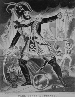"Jolly Roger - ""Paul Jones the Pirate"", a British caricature of the late 18th century, an early example of the skull-and-crossbones of the Jolly Rogers being transferred to a character's hat in order to identify him as a pirate (typically a tricorne, or as in this example, the later (1790s) bicorne)."