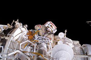 Pavel Vinogradov - Expedition 13 commander, Vinogradov participates in a spacewalk.
