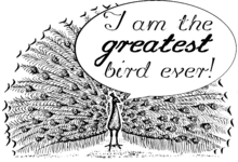 "A peacock saying, ""I am the greatest bird ever!"""