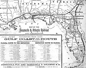 Pensacola and Atlantic Railroad - Image: Pensacola and Atlantic RR map 1885