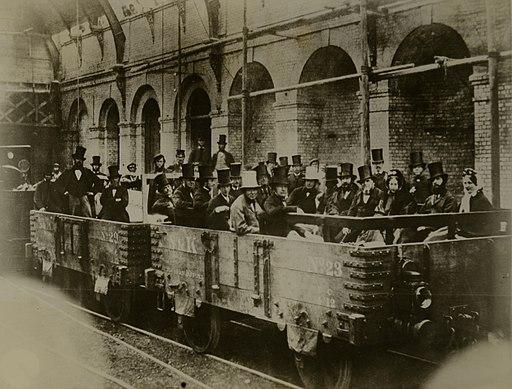 People in open Railway Carriages c.1870's (10468243435)