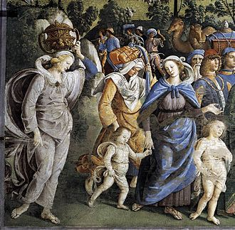 Zipporah - Detail from Moses Leaving to Egypt by Pietro Perugino, c. 1482. Zipporah is in blue.