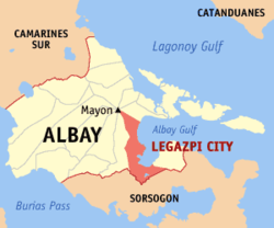 Map of Albay showing the location of Legazpi.