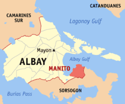 Location of Manito in the province of Albay