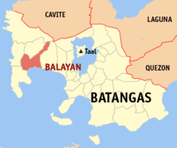 Map of Batangas showing the location of Balayan.