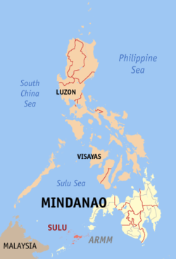 Map of the Philippines with Sulu highlighted