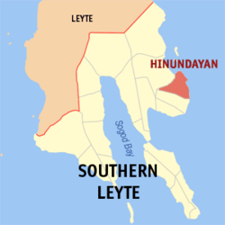 Map of Southern Leyte with Hinundayan highlighted