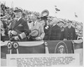 Photograph of President Truman and other dignitaries at the Navy-Penn State football game, during his visit to the... - NARA - 198647.tif