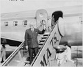 Photograph of President Truman at Washington National Airport, waving farewell as he prepares to board his airplane... - NARA - 200245.tif