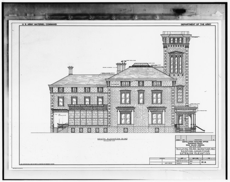 File:Photograph of line drawing in possession of Engineering Plans and Services Division, Rock Island Arsenal. SOUTH ELEVATION, UNDATED. - Rock Island Arsenal, Building No. 1, HABS ILL,81-ROCIL,3-1-33.tif