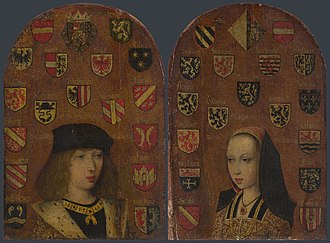 Pieter van Coninxloo - Philip the Handsome and Margaret of Austria, c 1493-5. Diptych, Oil on oak panels, each 23.8cm x 16.5cm. National Gallery, London.