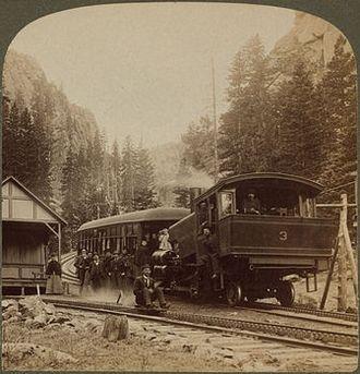Iron Springs, Colorado - Manitou and Pike's Peak Railway depot on Ruxton Avenue, 1894