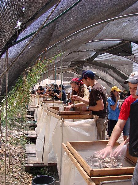 סינון ארכיאולוגי של עפר מהר הבית בגן לאומי עמק צור