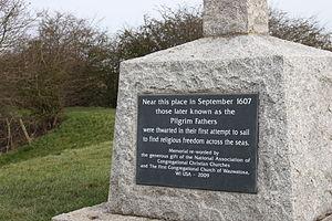 Pilgrim Fathers Memorial - Close up of the inscription.