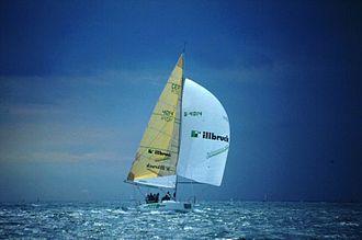 Pinta (yacht) - Image: Pinta Admirals Cup 93 spi