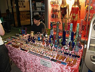 """Bong -  A variety of bongs for sale, among other merchandise in Manhattan. For legal reasons, the products are labeled as """"Tobacco Use Only"""""""
