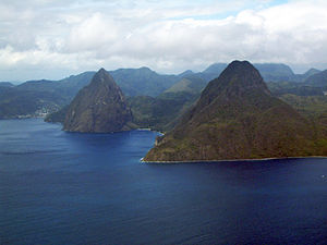 Volcanic plug - An aerial view of the Gros Piton and Petit Piton, in St. Lucia, 2006.