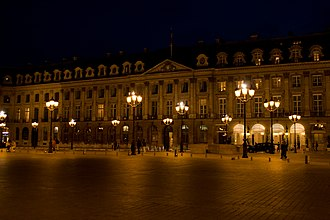 The hotel at night, looking west Place Vendome 6.jpg