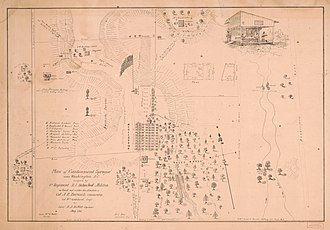 "Finley General Hospital - Image: Plan of ""Cantonment Sprague"" near Washington D.C. occupied by 1st Regiment R.I. Detached Militia LOC 2016585264"