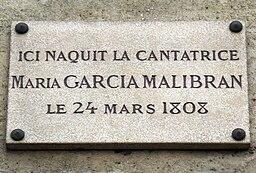 Plaque Maria Malibran, 3 rue de Condé, Paris 6