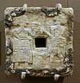 Plaque with female and male figures, Tell Asmar, Single-Shrine Temple III, Early Dynastic period, 2500-2330 BC, alabaster, shell, bitumen - Oriental Institute Museum, University of Chicago - DSC07365.JPG