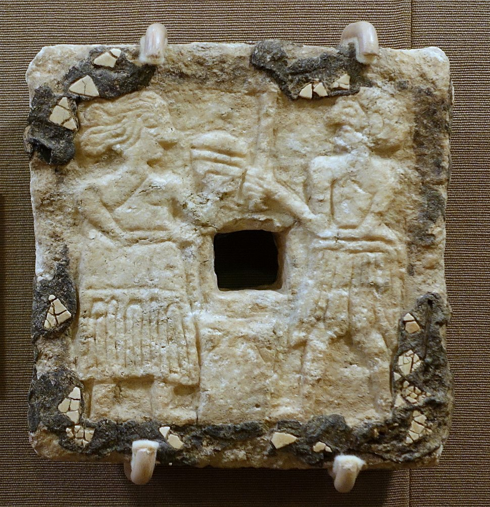 Plaque with female and male figures, Tell Asmar, Single-Shrine Temple III, Early Dynastic period, 2500-2330 BC, alabaster, shell, bitumen - Oriental Institute Museum, University of Chicago - DSC07365