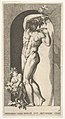 Plate 17- Bacchus standing in a niche, holding grapes over a plate, accompanied by an infant satyr, from a series of mythological gods and goddesses MET DP832193.jpg