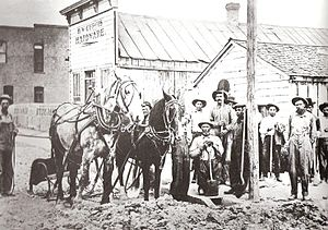 Blackfoot, Idaho - Early settlers plow the road for Main Street