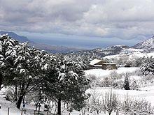 Neve a Poggio San Francesco, sui Monti di Palermo