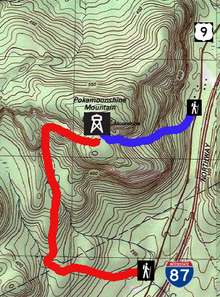 A topographic map of the mountain, showing nearby roads and icons for facilities, with a short trail to the summit in blue and a long one nearer the bottom in red
