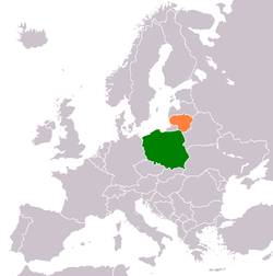 Map indicating locations of Poland and Lithuania
