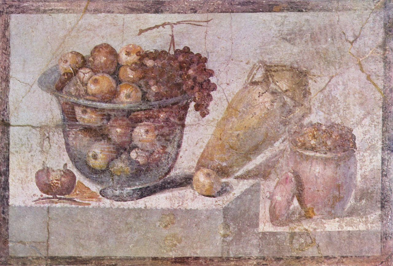 Roman fresco in Pompeii, glass bowl of fruit and vases, 70 CE, National Archaeological Museum, Naples, Italy.