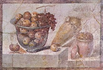 Ancient Roman cuisine - A still life with fruit basket and vases (Pompeii, c. AD 70)
