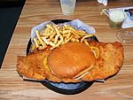 Pork tenderloin sandwich with French fries