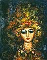 Portrait de femme avec chapeau fleuri par Enrico Campagnola.jpg