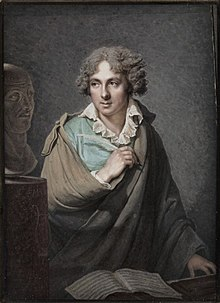 Portrait of Cherubini with a bust of his mentor, Giuseppe Sarti, by François Dumont (1792) (Source: Wikimedia)