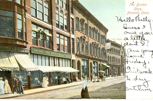 File:PostcardNorwichCTDowntownBostonStore1906.jpg