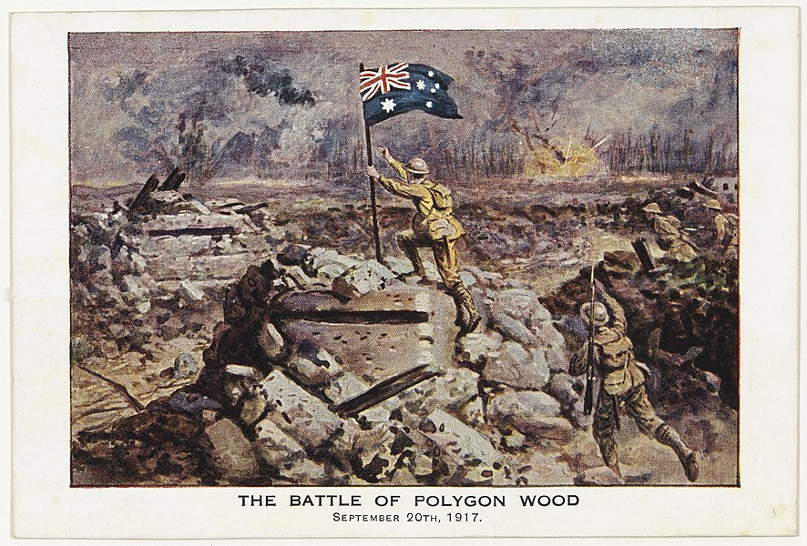 Postcard - The Battle of Polygon Wood. In Crowther's Diary for 1917. Tasmanian Archives and Heritage Office: W.L. Crowther Library  Images from the TAHO collection that are part of The Commons have 'no known copyright restrictions', which means TAHO is unaware of any current copyright restrictions on these works. This can be because the term of copyright for these works may have expired or that the copyright was held and waived by TAHO. The material may be freely used provided TAHO is acknowledged; however TAHO does not endorse any inappropriate or derogatory use.