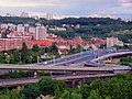 Praha - Pod Žvahovem - View SE over Barrandov Bridge.jpg