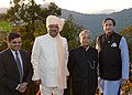 Pranab Mukherjee along with the Governor of Sikkim, Shri Shriniwas Patil and the Minister of State for Human Resource Development, Dr. Shashi Tharoor during his visit at Sikkim, in Gangtok on November 10, 2013.jpg