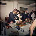 President's Birthday Party, given by White House Staff. President Kennedy, Mrs. Kennedy, Dave Powers, Kenneth... - NARA - 194224.jpg