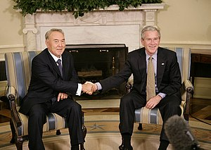 Nursultan Nazarbayev - Nazarbayev with US President George W. Bush at the White House in September 2006.