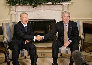 Nursultan Nazarbayev - Nazarbayev with US President George W. Bush at the White House in September 2006.