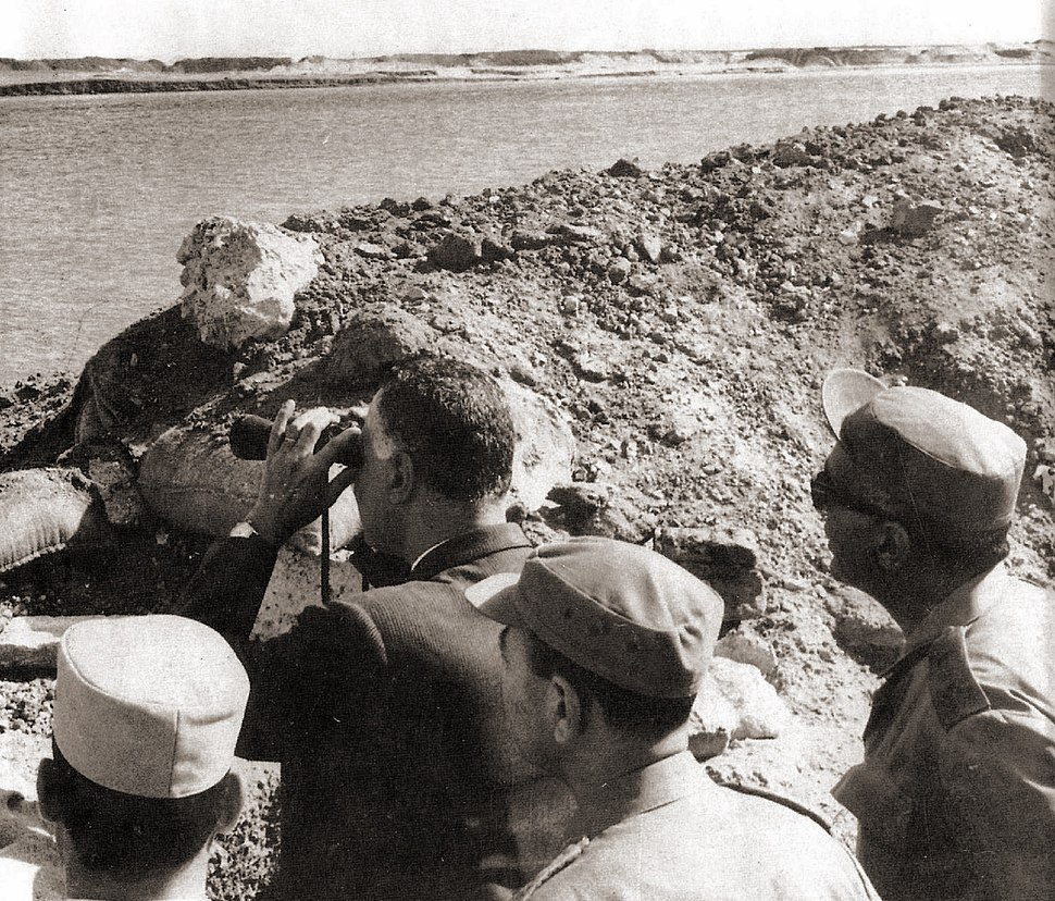President Nasser's visit to the Suez front with Egypt's top military commanders during the War of Attrition