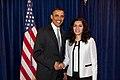 President Obama greets Andeisha Farid of Afghanistan (4564587002).jpg