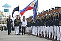 President Rodrigo Duterte, escorted by Philippine Air Force Commander Lt. Gen. Edgar Fallorina, arrives at the Villamor Airbase 02.jpg