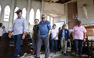 2019 Jolo Cathedral bombings - President Rodrigo Duterte and other government officials inspect the cathedral in the aftermath of the bombings.
